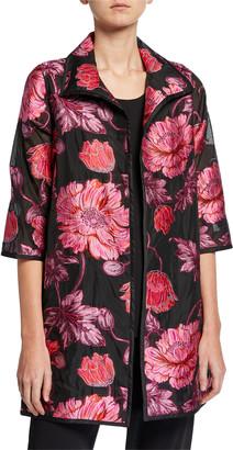 Caroline Rose Plus Size Flower Market Devore Topper Jacket