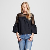 Who What Wear Women's Eyelet Trim Bell Sleeve Top