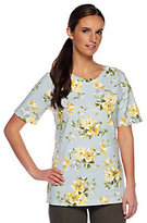 Denim & Co. As Is Active French Terry Floral Print
