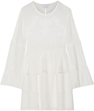 IRO Grecia Lace-paneled Crinkled-voile Peplum Mini Dress