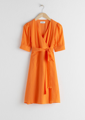 And other stories Cotton Blend Wrap Mini Dress