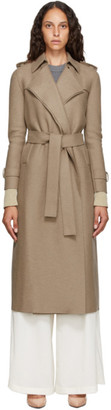 Harris Wharf London Brown Pressed Virgin Wool Trench Coat