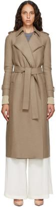 Harris Wharf London Brown Pressed Virgin Wool Trench Coat