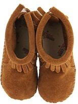 Minnetonka Kids Suede Back Flap Bootie (Infant/Toddler) (Brown Suede) Kids Shoes