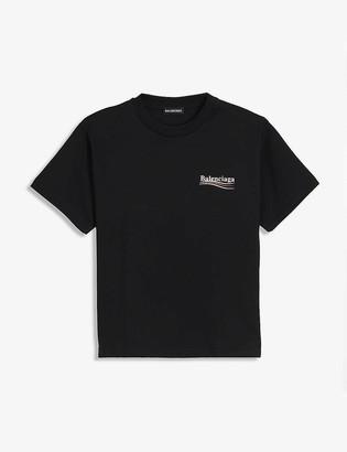 Balenciaga Political logo-print cotton-blend T-shirt 4-10 years