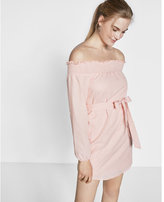 Express Smocked Off The Shoulder Linen-cotton Tunic Dress