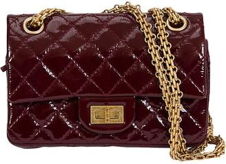 One Kings Lane Vintage Chanel Mini Reissue Double Flap Purse - Vintage Lux - burgundy/gold