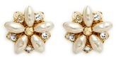 Miriam Haskell Filigree floral Baroque pearl stud earrings