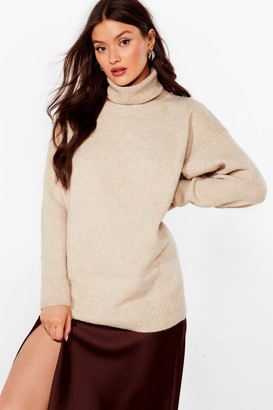 Nasty Gal Womens Marl or Nothing Turtleneck Oversized Jumper - Beige - S
