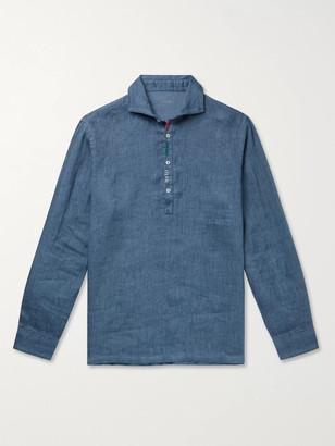 Altea Embroidered Linen Half-Placket Shirt