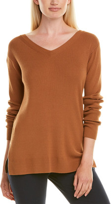 Lafayette 148 New York Wide V-Neck Relaxed Sweater