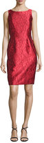 Carmen Marc Valvo Sleeveless Floral Brocade Sheath Dress, Red