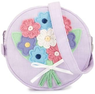 Familiar Flower Applique Shoulder Bag