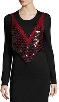 Altuzarra Powell Sequined-Harness Sweater, Black