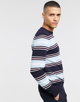 Threadbare organic cotton stripe knitted jumper in navy