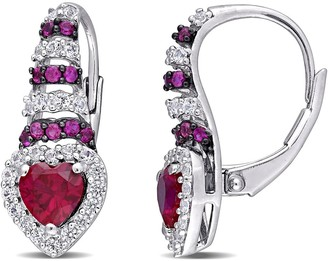 Delmar Sterling Silver Created Ruby Sapphire & Created White Sapphire Halo Drop Earrings