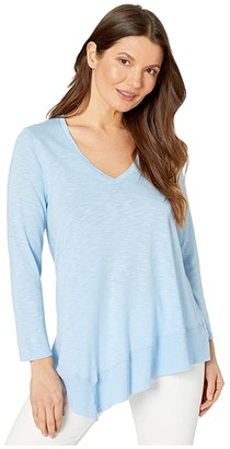 Lilla P 3/4 Sleeve Rib Hem Flame Modal T-Shirt (Hydrangea) Women's Clothing