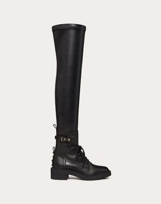 Valentino Rockstud Over-the-knee Combat Boot In Calfskin And Synthetic Fabric 45 Mm Women Black 100% Pelle Di Vitello - Bos Taurus 36