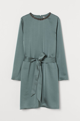 H&M Rhinestone-detail Satin Dress - Green