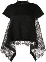 Sacai short sleeve lace insert top