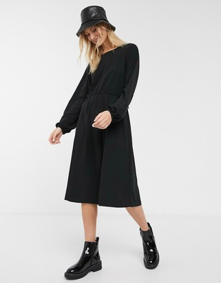 Monki oversized round neck t-shirt dress in black