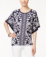 JM Collection Printed Buttefly-Sleeve Top, Only at Macy's