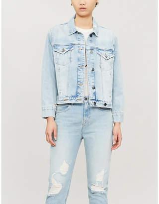 Frame Distressed overlap-fit denim jacket