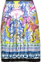 Roberto Cavalli Pleated Printed Silk-Satin Twill Mini Skirt