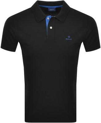 Gant Contrast Collar Rugger Polo T Shirt Black
