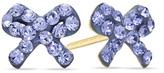 Zales Child's Purple Crystal Bow Earrings in 14K Gold