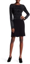 Max Studio Long Sleeve Pleated Skirt Sweater Dress