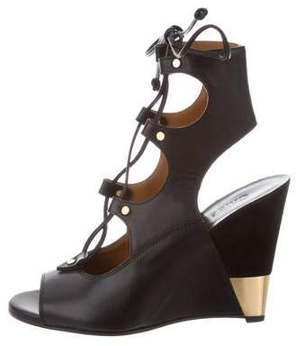 Chloé Lace-Up Peep-Toe Wedges