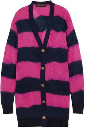 Versace Striped Open-knit Cardigan