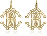 Roberto Cavalli RC Icon Gold Tone Metal Earrings w/Crystals
