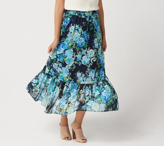 Susan Graver Petite Printed Chiffon Tiered Maxi Skirt