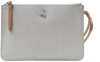 Jimmy Choo FARA Metallic-Silver Glitter Fabric Wristlet Pouch with JC Emblem