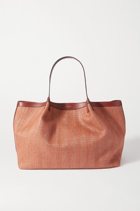 SERAPIAN Secret Medium Leather-trimmed Woven Raffia Tote - Brown