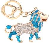 Ever Faith Women's Crystal Blue Enamel Walking Lion Animal Keychain Clear Gold-Tone