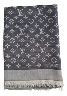 Louis Vuitton Chale Monogram Blue Silk Scarves