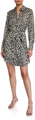 Theory Clean Leopard-Print Silk Shirtdress