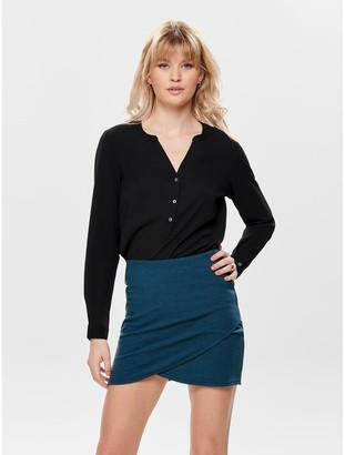 Jacqueline De Yong Grandad Collar Blouse with Buttons and Long Sleeves