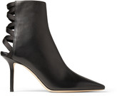 Jimmy Choo LEVIN 85 Black Leather Point-Toe Ankle Boots with Lace-up Ribbon Back