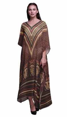 Phagun Tribal African Long Caftan Maxi Dress Beach Swimwear Cover up Womens Kaftan-4X5X Brick Red