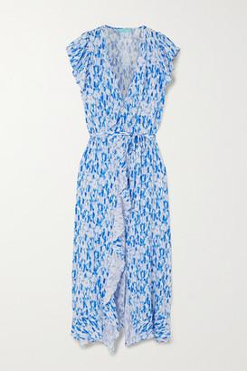 Melissa Odabash Brianna Ruffled Tie-dyed Crepe Wrap Maxi Dress - Light blue