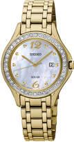 Seiko Women's Solar Gold-Tone Stainless Steel Bracelet Watch 29mm SUT314