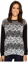Nally & Millie Black/White Lace Tunic Women's Blouse