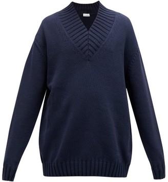 Raey Oversized V-neck Cotton-blend Sweater - Navy