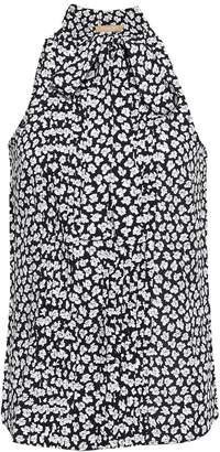 Michael Kors Pussy-bow Floral-print Silk-crepe Top