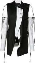 Ann Demeulemeester cold-shoulder panelled coat