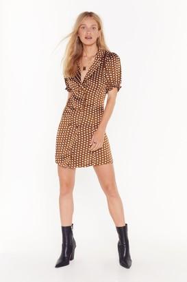 Nasty Gal Womens Spot Staring Satin Blazer Dress - brown - 4